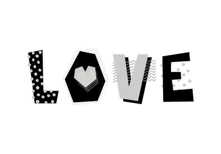 Hand drawn decorative text Love. Design element for romantic print, poster, t-shirt print.