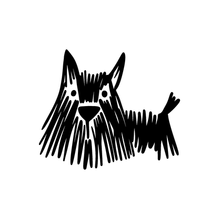 Scribble textured dog silhouette on white