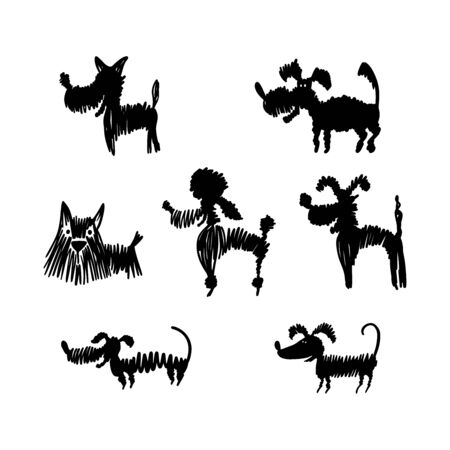 Set of black hand drawn dog silhouettes on white Illusztráció