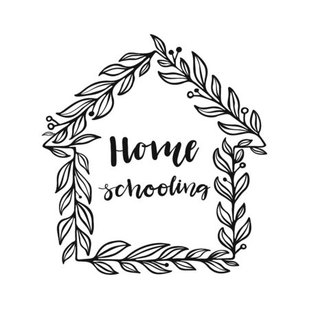 Homeschooling hand drawn  lettering.