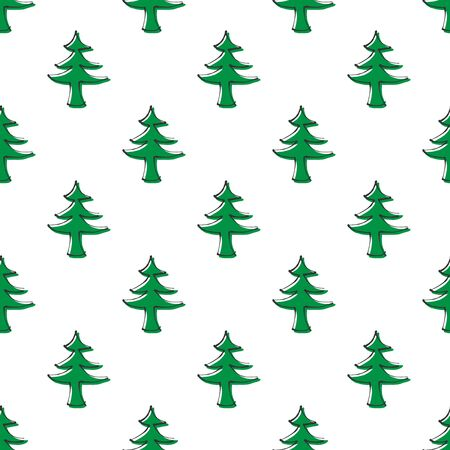 Hand drawn seamless pattern with Christmas trees on white
