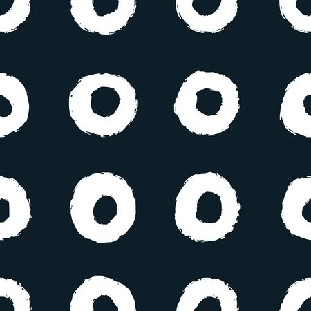 Blue and white circle seamless pattern. Brush drawn circles. Illusztráció