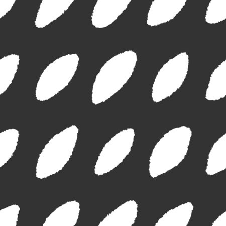 Ink hand drawn seamless pattern with white ovals on black