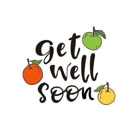 Get well soon greeting card with apples. Design element for motivation greeting card.