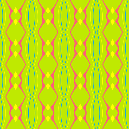 stripes pattern: Abstract colorful seamless pattern with rhombus and wavy stripes on a green background. This pattern can be used in the design of the fabric, printing on paper, covers, cards and as a design element