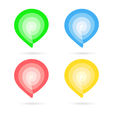 bookmarks: Different colored spiral markers: green, blue, red and yellow on a white background. Markers can be used for bookmarks or pointers for your documents, presentations or navigation. Stock Photo
