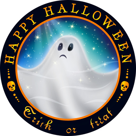 starry sky: Round Halloween design with ghost. White ghost flying in the starry sky at night in the glow of moonlight. Illustration
