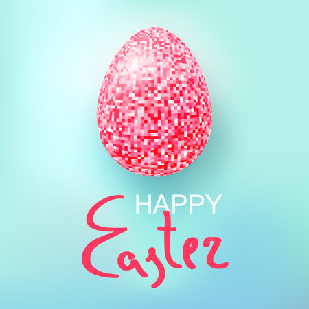 Happy Easter Eggs pink glitter on a blue. Easter banner background template with pink glitter egg. Vector illustration. EPS10. Illustration
