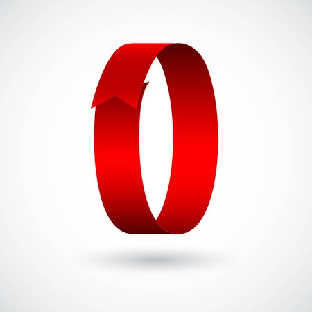 Red ribbon 0 vector number. Decorative red digit zero character with 3d effect.