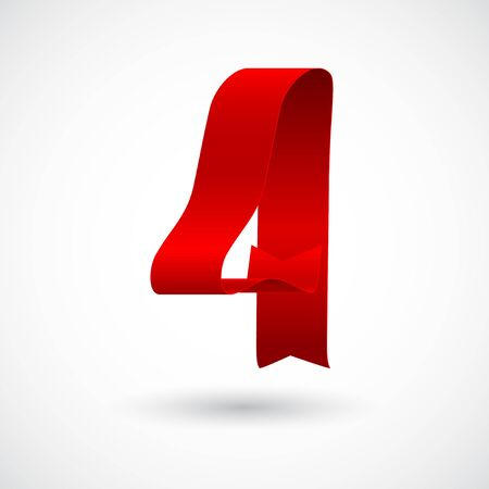 Red ribbon 4 vector number. Decorative red digit four character with 3d effect.