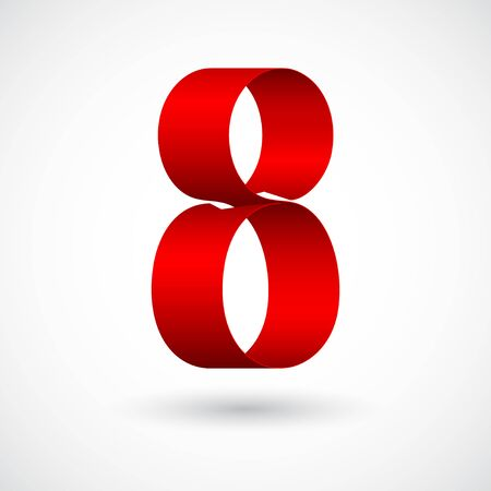 Red ribbon 8 vector number. Decorative red digit eight character with 3d effect. Ilustrace