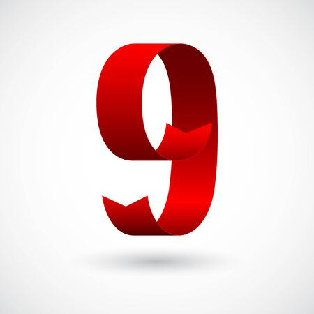 Red ribbon 9 vector number. Decorative red digit nine character with 3d effect.