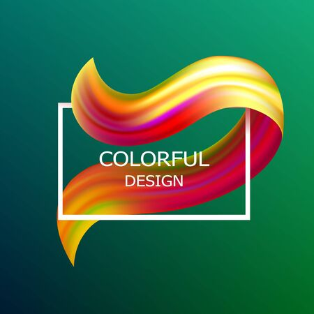 Colorful flow poster. Wave brushstroke design element. Art concept 3d template for your project. Vector illustration. Иллюстрация