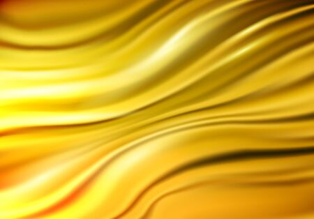 Gold stream background. Bright liquid gold flow. Smooth gradient template for poster, banner, cover. Vector illustration.