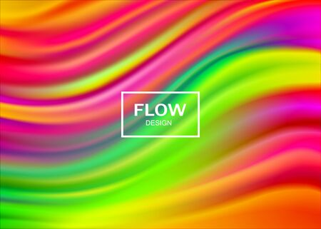 Modern colorful flow waves background with soft lines. Bright liquid design in rainbow colors. Smooth gradient template for poster, banner, cover. Vector illustration.