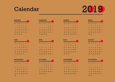 Simple european calendar 2019. Vector calendar design template in retro style. Week starts from monday.  Vector illustration. Ilustracja