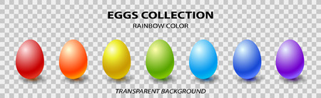 Rainbow color eggs collection. Shinny pearl eggs isolated on a trannsparent background. Vector illustration for design.