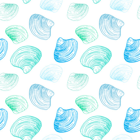 Seamless pattern. Shells illustrations drawn by ink and pen. For your design, posters, postcards, invitations, menus, weddings and more. Stock Photo