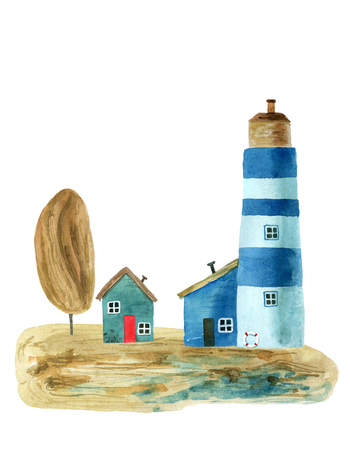Watercolor lighthouses for your design. Hand painted illustration Stock Photo