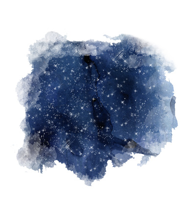 Night Sky Print. Watercolor starry sky. Blue galaxy night sky Watercolor
