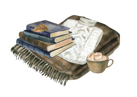 Isolated watercolor illustration with books, sweater and a cup of coffee. Suitable for cards, invitations, holidays, etc.