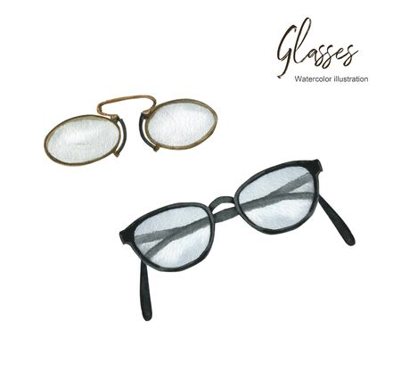 Isolated watercolor illustration with glasses. A set of elements. Suitable for creating cards, invitations, holidays, etc. Фото со стока