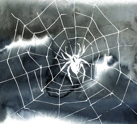 Watercolor abstract background and cobweb. Background for halloween invitations. Gray stain hand-drawn. Stock fotó