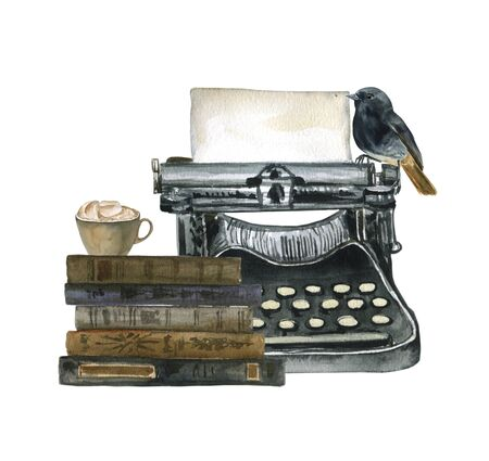 Watercolor illustration with books, vintage typewriter and bird. Suitable for cards, invitations, halloween, holidays, etc.