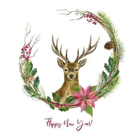 Ready-made greeting card Merry Christmas and Happy New Year! A wreath with a cute deer. Watercolor hand illustration.