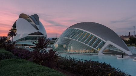 May 6, 2017, City of Arts and Sciences of Valencia, Spain, at sunset Editorial