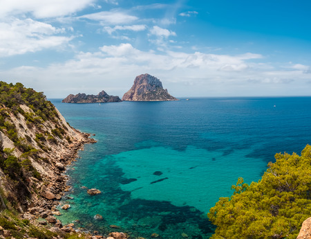 islets of es vedra and es vedranell in Ibiza, Spain, in summer