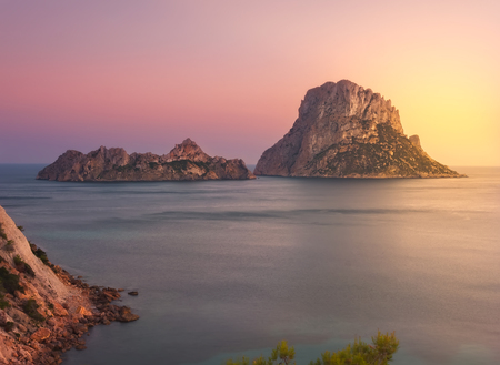 sunset in Ibiza, Spain.Islets of Es Vedrá and Es vedranell, in summer