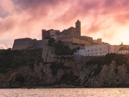 Dalt Vila, Ibiza, Spain, at sunset Stock Photo