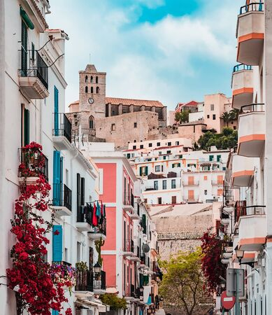 old street and cathedral in Ibiza town, Spain Editorial