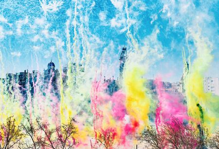 Las Fallas of Valencia, Spain. Mascleta in town hall square, thousands of colorful pyrotechnic elements explode.