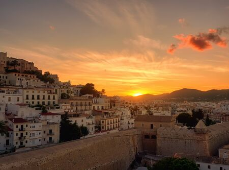 Sunset from the viewpoint of the ancient city of Dalt Vila in Ibiza,Balearic, Spain