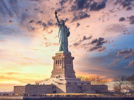 statue of liberty at sunset, New York, USA