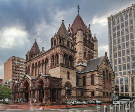 Boston, Massachusetts, USA. October 20, 2018. Romanesque Trinity Church in historic downtown Boston, surrounded by modern skyscrapers Editorial