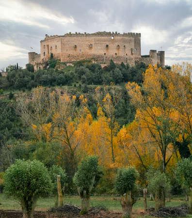 view of Pedraza castle in winter, Segovia, Castilla y Leon, Spain
