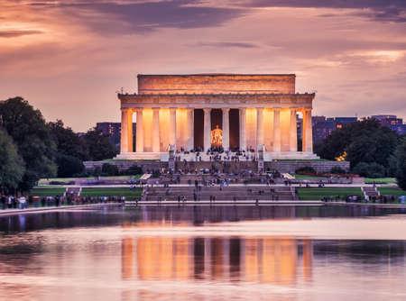 Lincoln memorial at dusk in autumn, Washington DC