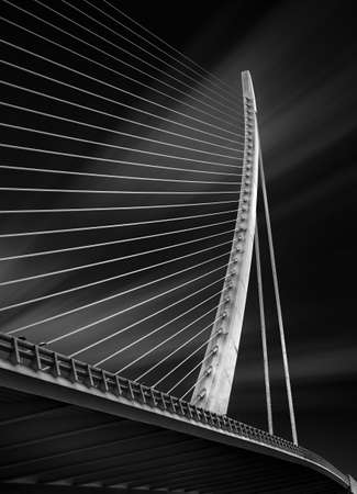 Fine art black and white photography of the structure of a modern bridg in Spain Standard-Bild