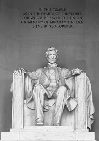 Statue of Abraham Lincoln. Lincoln Memorial off center Washington DC on the National Mall