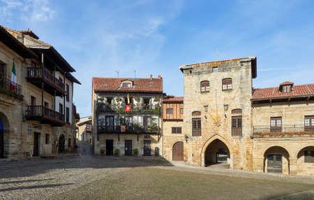Santillana del Mar, Santander, Cantabria, Spain, December 20, 2019. Medieval architecture in the Main Square