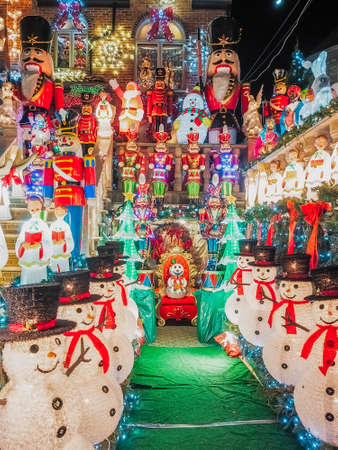 New York, USA, December 27, 2017. famous giant christmas decorations of houses in the neighborhood of dyker heights, in Brooklyn