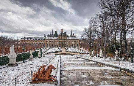 December 30, 2020, public gardens, historic fountains and exterior of the Baroque Palace of La Granja de San Ildefonso, Segovia, Castilla y Leon, Spain