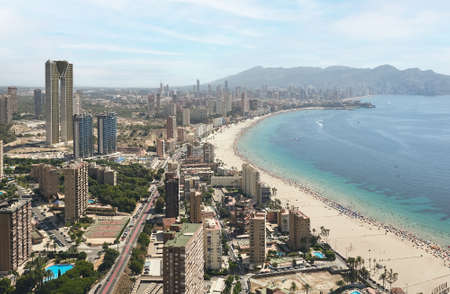 panoramic aerial view of the skyscrapers of the city of Benidorm, Alicante, Spain and the beach of poniente Standard-Bild