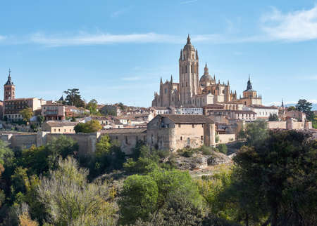 Aerial view of the city of Segovia, its wall, the Cathedral of Our Lady of the Assumption, as well as the ancient medieval architecture