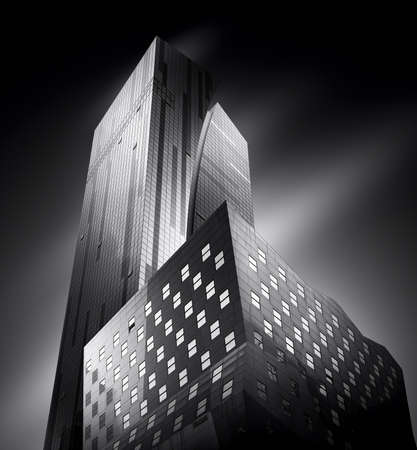 Fine art black and white photography of modern buildings in New York City, USA