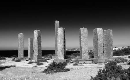 beautiful landscape and monument in cala llentia, Ibiza, Spain.black and white photography