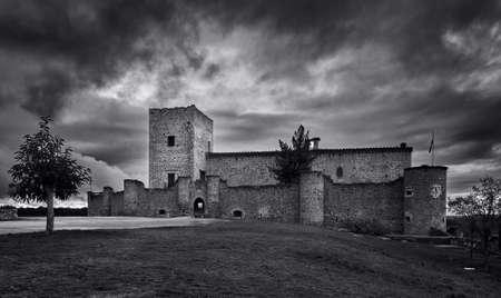 Black and white photograph of Pedraza castle in Segovia, Castilla y Leon, Spain Editorial